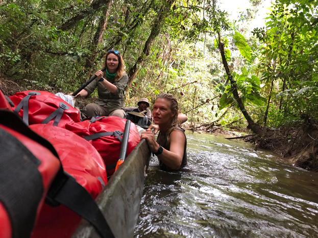 Pip Stewart and Ness Knight navigating the Essequibo river