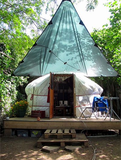 DD Tarp used as porch for a yurt