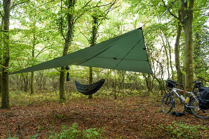 Jason Clark bikepacking in Oxfordshire with his DD Hammock