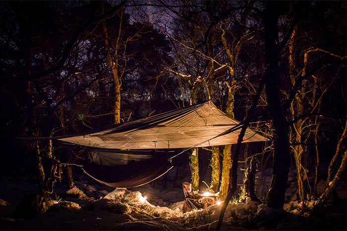 Mark Skiba hammock-camping in winter in the Peak District