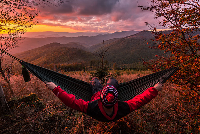 Peter Ferencik takes in an epic vista from his Camping Hammock in Slovakia