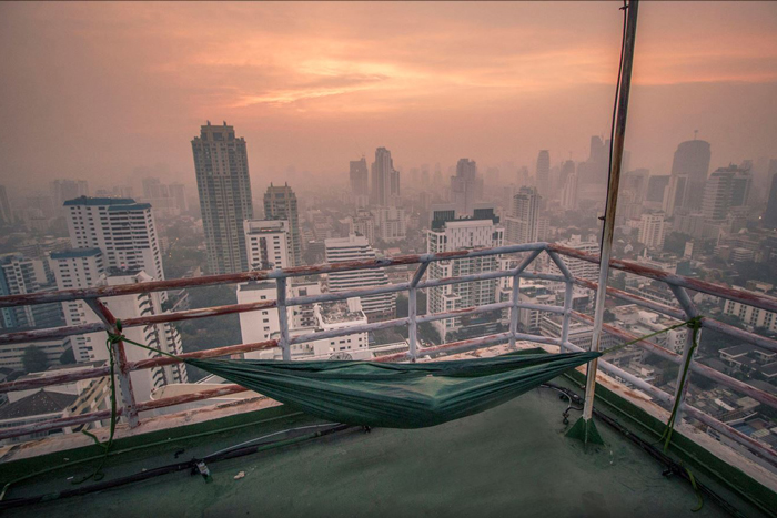 DD Camping Hammock on a skyscraper in Bangkok - by Petar Cule