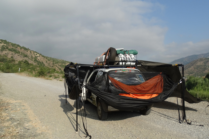 DD Hammocks rigged to a car in Mongol Rally 2015: by Richard Matthews