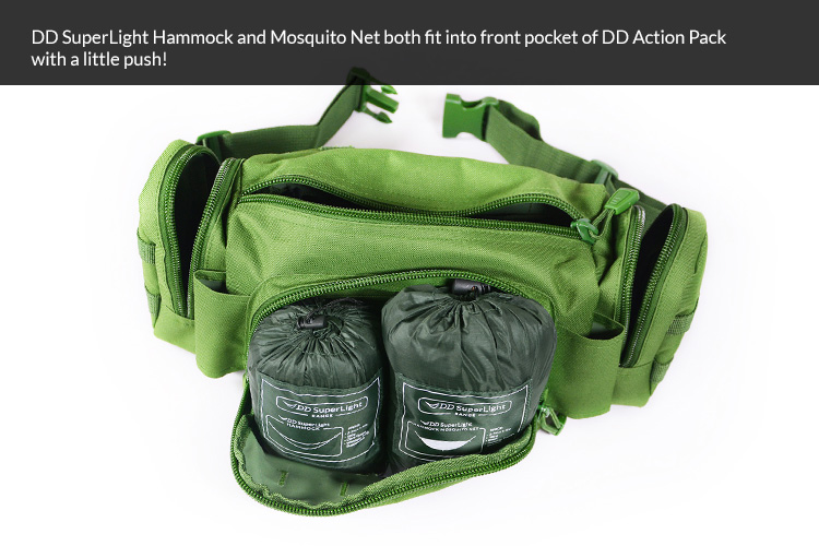 DD Superlight hammock, tarp and mosquito net all fit into DD Action Pack with main compartment free