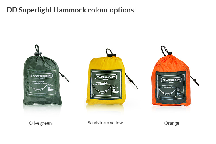 DD SuperLight Hammock available in three colours