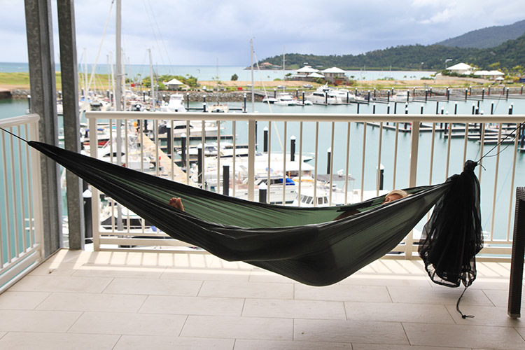 DD SuperLight Hammock at the harbour