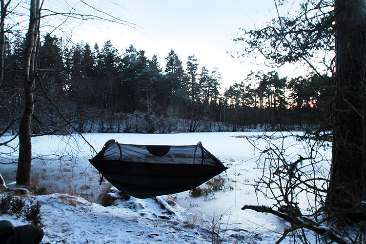 DD SuperLight Jungle Hammock in the snow by a winter loch