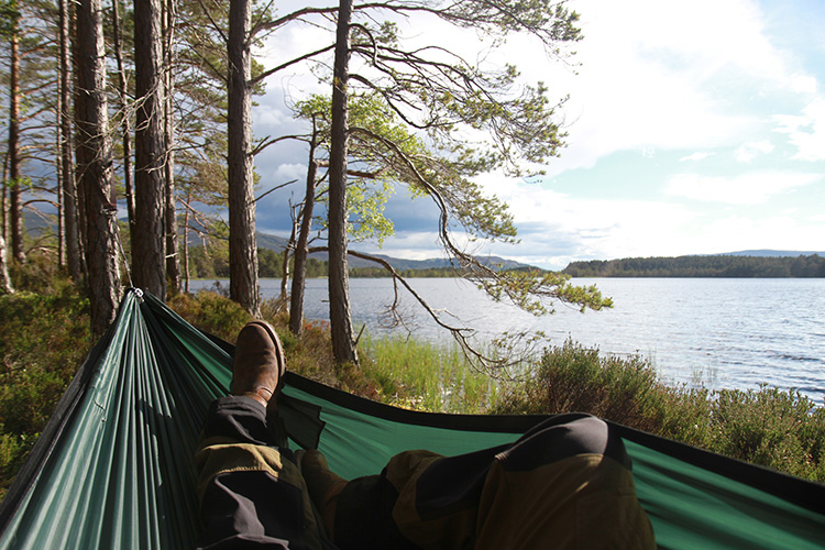 DD SuperLight Jungle Hammock by a highland loch