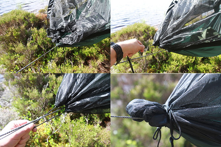 DD SuperLight Jungle Hammock - how to secure the mosquito net