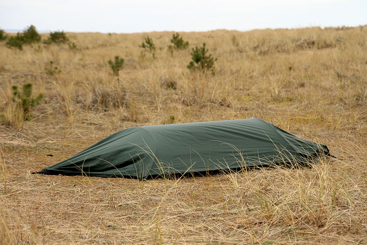 DD SuperLight Jungle Hammock bivi set-up with waterproof layer