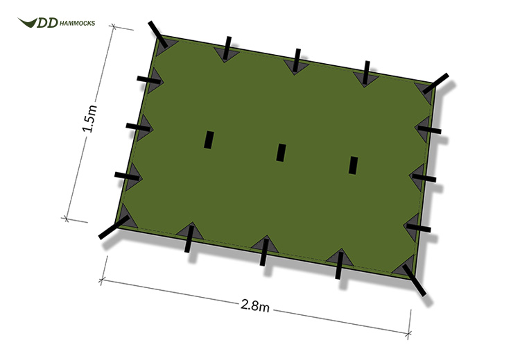 DD Superlight Tarp S diagram showing attachment points and size