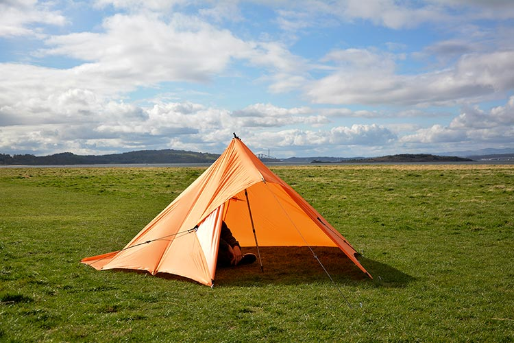 DD Superlight tarp orange set up as a tent