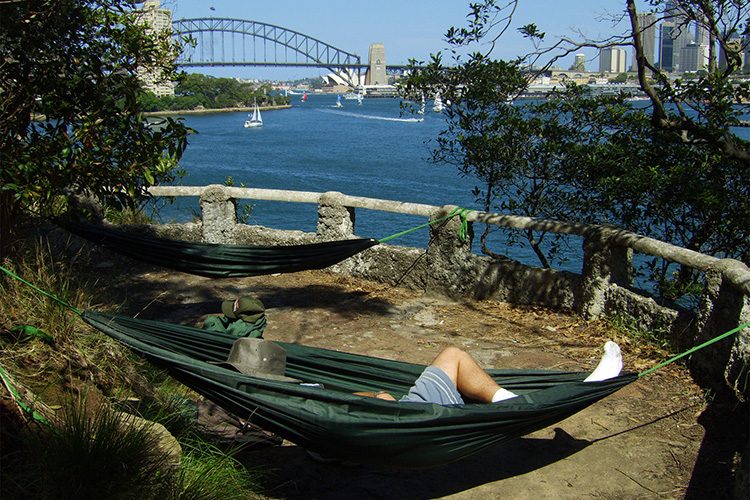 DD Camping Hammock in summer at sydney harbour