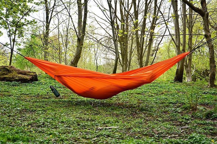 DD Chill Out Hammock - Orange set up outdoors
