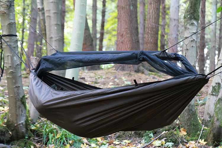 DD Frontline Hammock with mosquito net in the woods