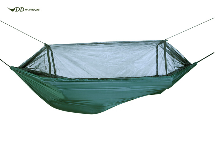 DD Travel Hammock with mosquito net suspended
