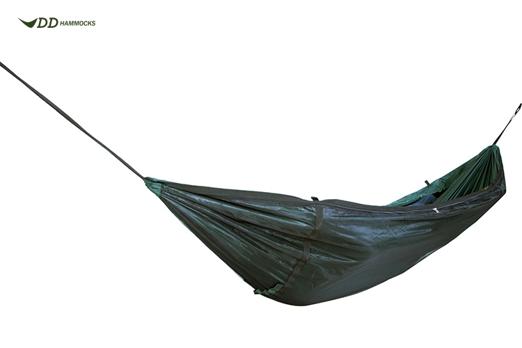 DD Travel Hammock open with mosquito net underneath