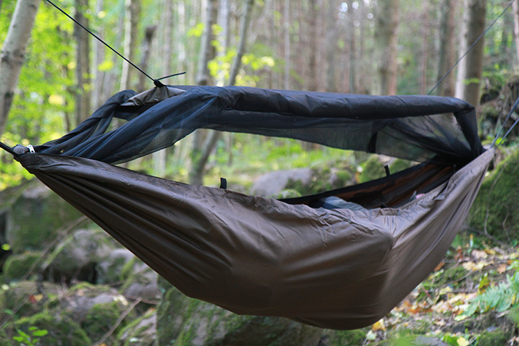 DD Travel Hammock bivi with mosquito net rolled up