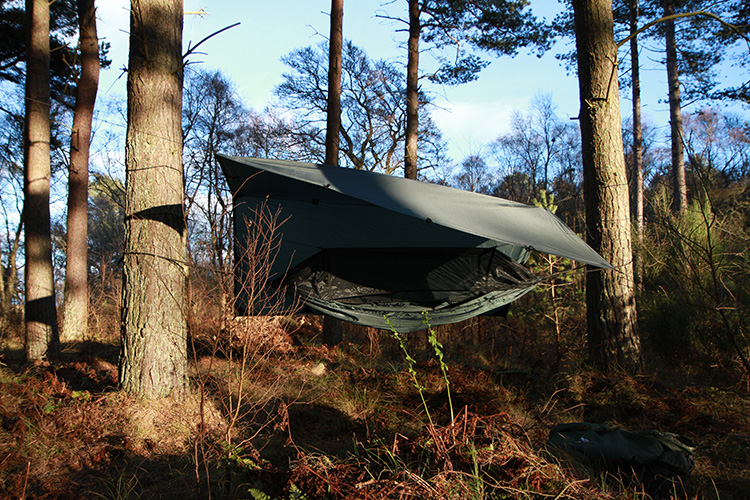 DD Travel Hammock in woodlands with tarp
