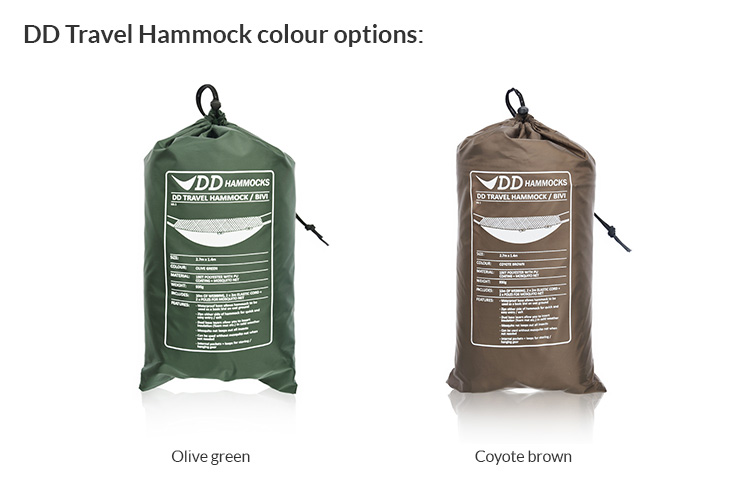 DD Travel Hammock colour options in stuff sack