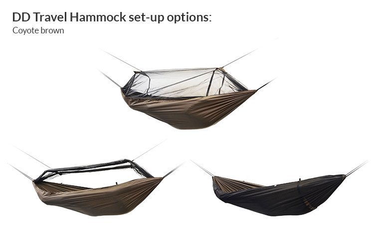 DD Travel Hammock set-up options - coyote brown