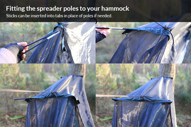 DD Travel Hammock - how to fit the spreader poles