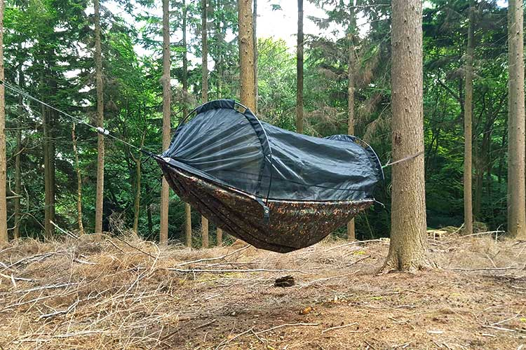 DD XL Frontline Hammock set up in the woods