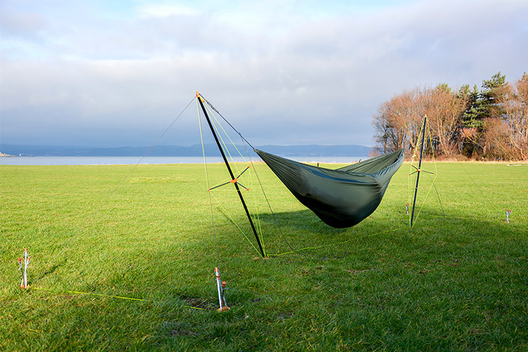 Ultralight Hammock Stand set up on the grass