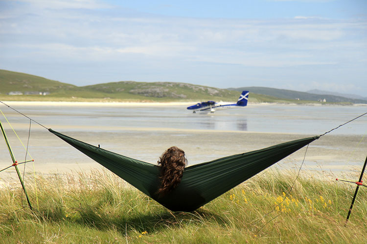Ultralight Hammock Stand set up on the beach