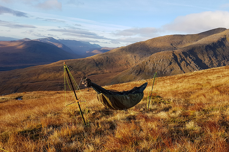 Ultralight Hammock Stand set up in highlands