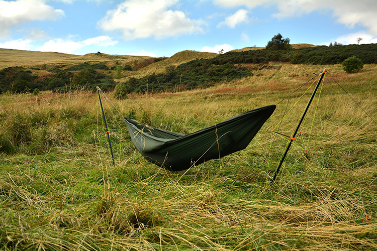 Ultralight Hammock Stand set up in the hills
