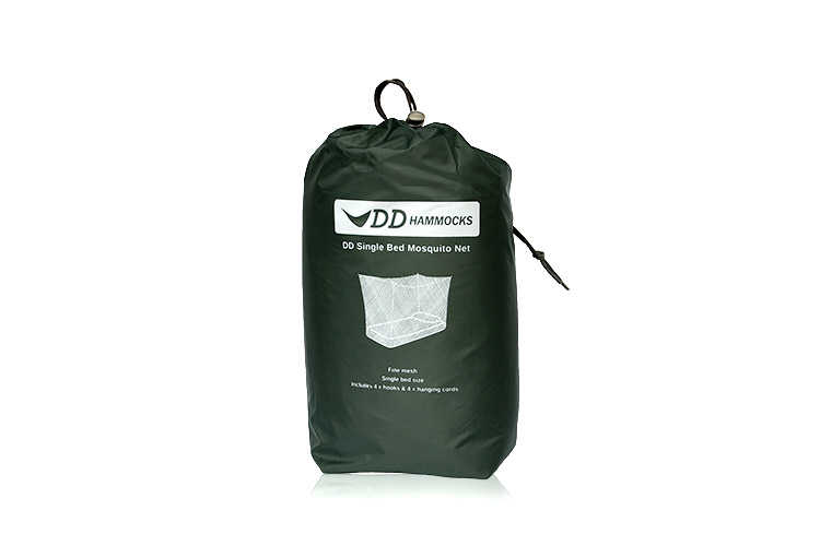 DD Single Bed Mosquito Net packed up in a stuff sack