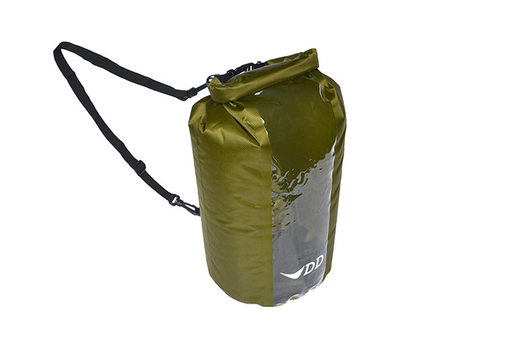 DD Dry Bag 20L view from the top showing strap and clips