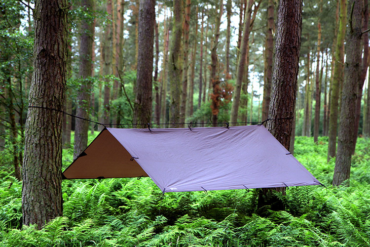 DD Tarp 3x3 brown set up in the woods