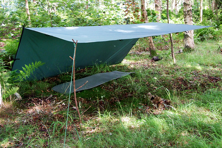 Lean-to ground shelter set-up of the DD Tarp 3x3 in the woods