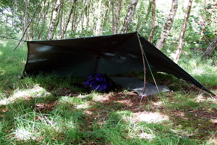 Ground shelter set-up of the DD Tarp 3x3 in the woods