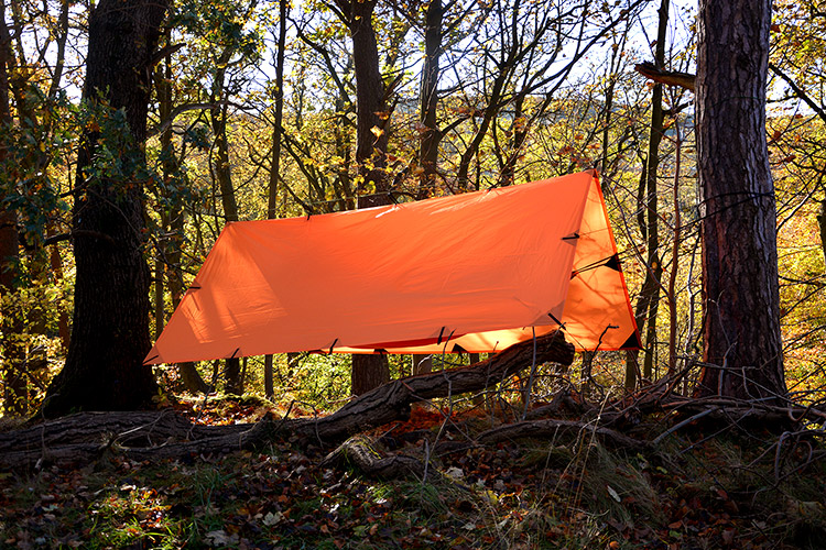 DD Tarp 3x3 orange set up in the woods