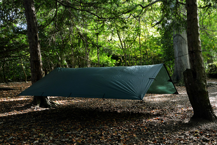 DD Tarp 3x3 set up as an a-frame in the woods
