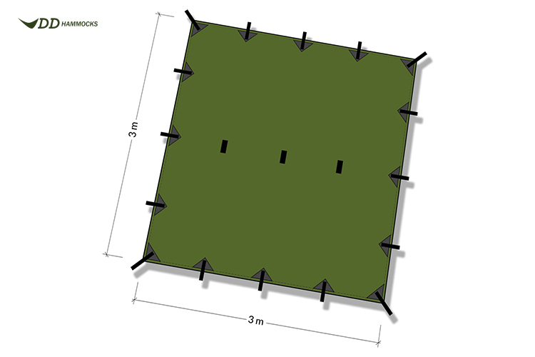DD Tarp 3x3 diagram shows attachment points and size