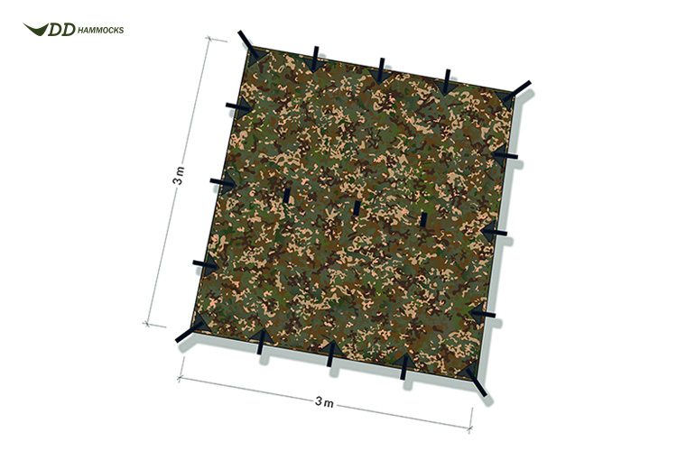 DD Multicam Tarp 3x3 diagram showing attachment points and size