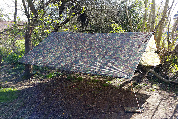DD Tarp 3x3 MC set up as an a-frame in the woods