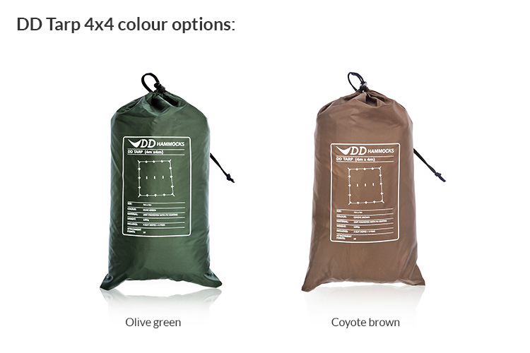 DD Tarp 4x4 in green and brown packed up in stuff sacks