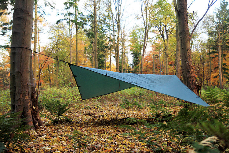 DD Tarp 4x4 green set up outdoors
