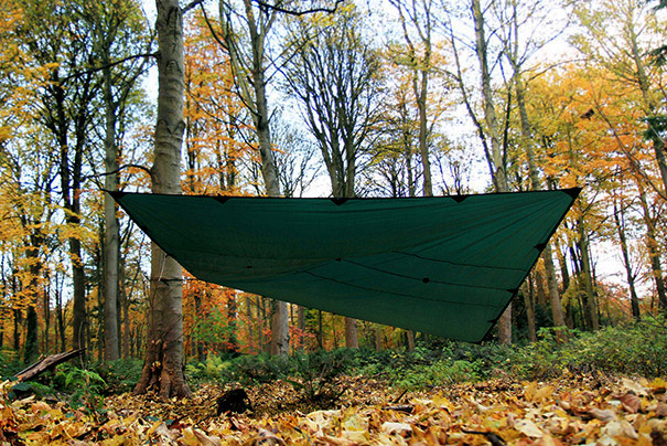 DD Tarp 4x4 green set up as a group shelter outdoors