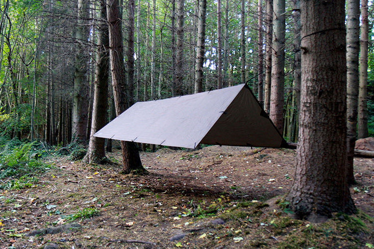DD Tarp M in coyote brown set up outdoors as an a-frame