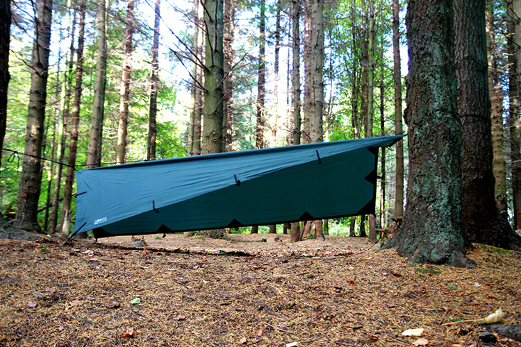 DD Tarp S olive green set up in the woods