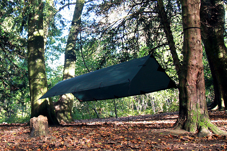 DD Tarp S set up as an a-frame in the forest