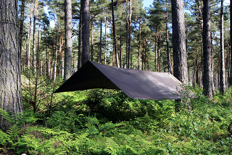 DD Tarp XL brown set up outdoors as an a frame