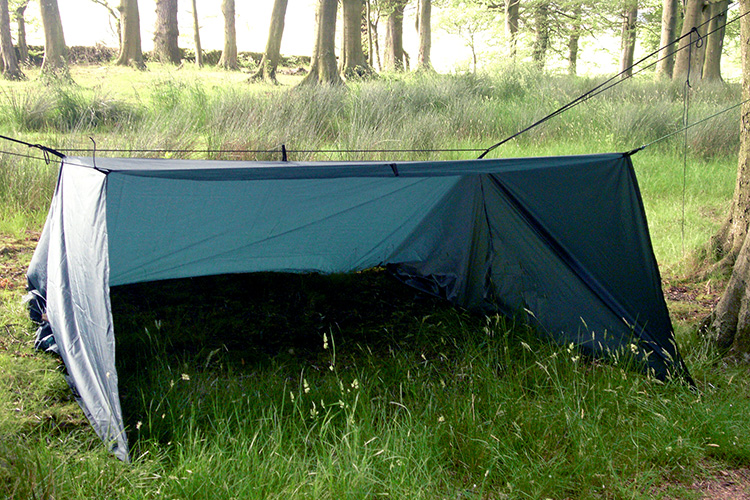 DD Tarp XL green set up as a ground shelter