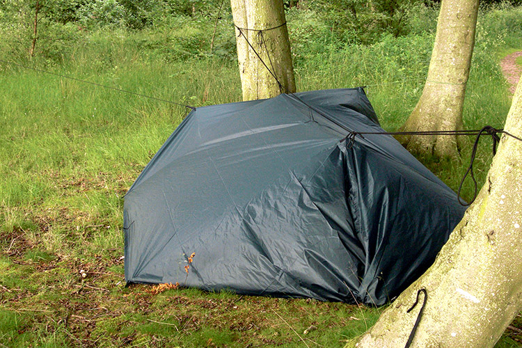 DD Tarp XL set up as an enclosed ground shelter